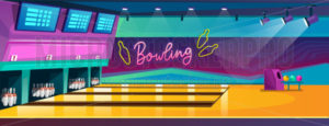Empty bowling center interior design vector illustration - Vector illustrations for everyone | Microstocker.Pro