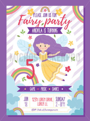 Fairy party invitation template with text - Vector illustrations for everyone | Microstocker.Pro