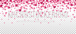 Falling pink hearts on transparent background - Vector illustrations for everyone | Microstocker.Pro