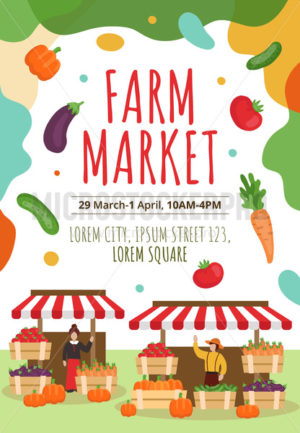 Farm market flyer or poster template with text - Vector illustrations for everyone | Microstocker.Pro