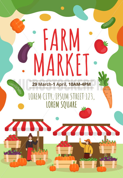 Farm market flyer or poster template with text - Vector illustrations for everyone   Microstocker.Pro