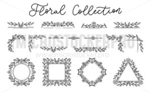 Floral design frames in black colour with text - Vector illustrations for everyone | Microstocker.Pro