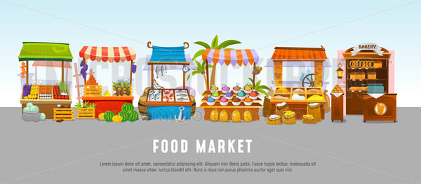 Food market local shops banner template flat style - Vector illustrations for everyone | Microstocker.Pro