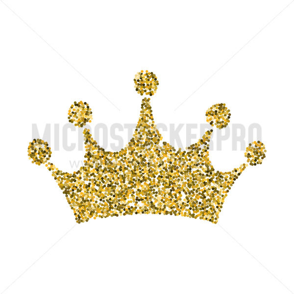 Gold glitter crown, royal sign on white background - Vector illustrations for everyone | Microstocker.Pro