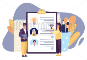 HR workers reviewing cv applications for staff hiring - Vector illustrations for everyone | Microstocker.Pro