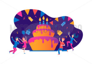 Happy birthday and tasty cake with people - Vector illustrations for everyone | Microstocker.Pro