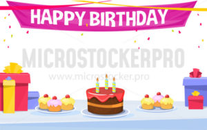 Happy birthday banner or greeting card template - Vector illustrations for everyone | Microstocker.Pro