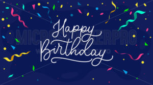 Happy birthday banner or greeting card with ribbons - Vector illustrations for everyone | Microstocker.Pro