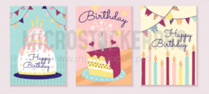 Happy birthday greeting cards design template - Vector illustrations for everyone | Microstocker.Pro