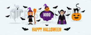 Happy festive halloween card or banner design - Vector illustrations for everyone | Microstocker.Pro