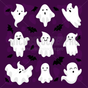 Happy halloween cute ghosts and bats collection - Vector illustrations for everyone | Microstocker.Pro