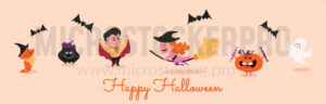 Happy halloween greeting card or banner with character - Vector illustrations for everyone | Microstocker.Pro