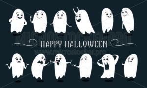 Happy halloween lettering and cute ghosts - Vector illustrations for everyone | Microstocker.Pro