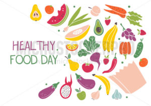 Healthy food day banner template with fruits - Vector illustrations for everyone | Microstocker.Pro