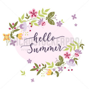 Hello summer floral card with handwritten lettering - Vector illustrations for everyone | Microstocker.Pro