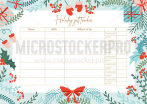 Holiday gift tracker template with lettering - Vector illustrations for everyone | Microstocker.Pro