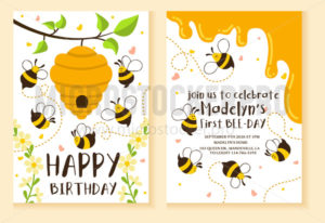 Kids party invitation with bees design template - Vector illustrations for everyone | Microstocker.Pro
