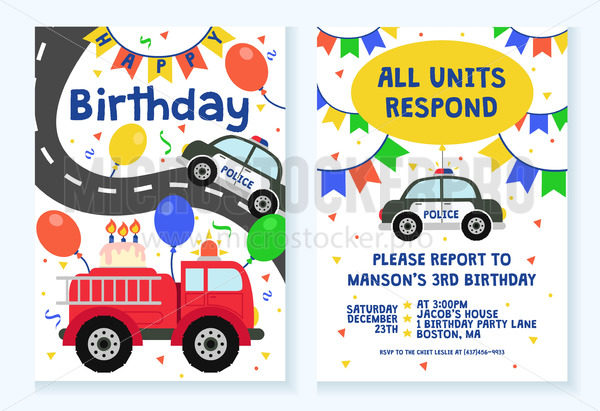 Kids party invitation with police and fire truck design - Vector illustrations for everyone | Microstocker.Pro