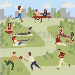 Leisure activities in park and recreational pursuit concept - Vector illustrations for everyone | Microstocker.Pro