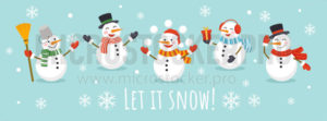 Let it snow card with cute character snowman - Vector illustrations for everyone | Microstocker.Pro