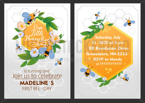 Little bee girl birthday party invitation with decor - Vector illustrations for everyone | Microstocker.Pro