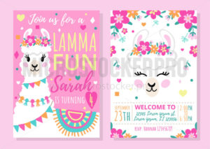 Llama party invitation template with colourful design - Vector illustrations for everyone | Microstocker.Pro
