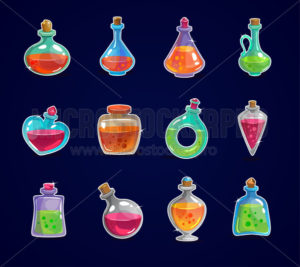 Magic bottles set with elixir on dark background - Vector illustrations for everyone | Microstocker.Pro