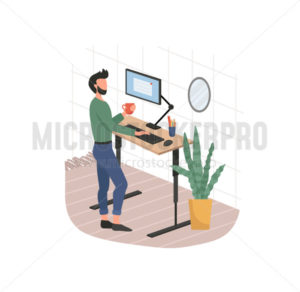 Man and remote working from home on computer - Vector illustrations for everyone | Microstocker.Pro