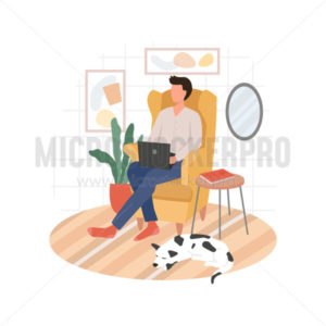 Man working remote from home sitting on chair - Vector illustrations for everyone | Microstocker.Pro