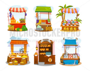 Market elements set, stalls of food sellers flat - Vector illustrations for everyone | Microstocker.Pro