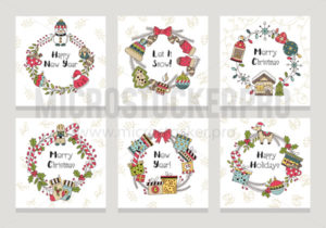 Merry christmas and happy new year cards set - Vector illustrations for everyone | Microstocker.Pro