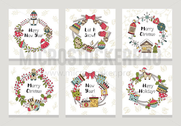 Merry christmas and happy new year cards set - Vector illustrations for everyone   Microstocker.Pro