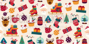Merry christmas colourful seamless pattern - Vector illustrations for everyone | Microstocker.Pro