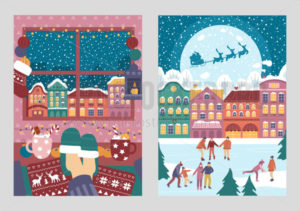 Merry christmas greeting cards colourful set - Vector illustrations for everyone | Microstocker.Pro