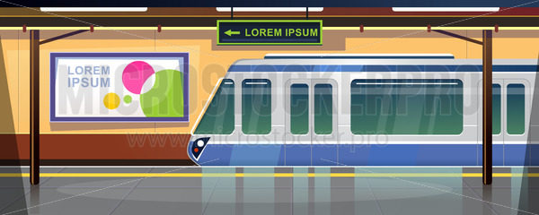 Metro station or railway terminal with train arriving - Vector illustrations for everyone | Microstocker.Pro