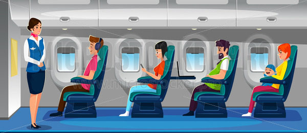 Modern airplane salon with happy passengers - Vector illustrations for everyone | Microstocker.Pro