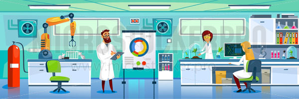 Modern laboratory and chemists at working place - Vector illustrations for everyone | Microstocker.Pro