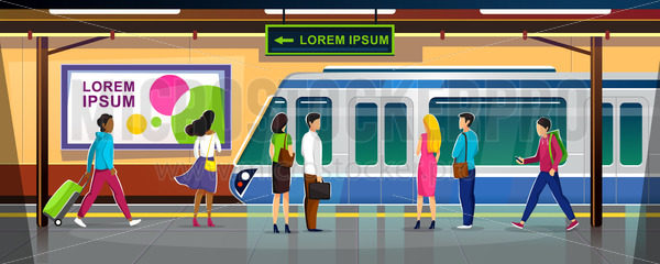 Modern metro station with people and train - Vector illustrations for everyone | Microstocker.Pro