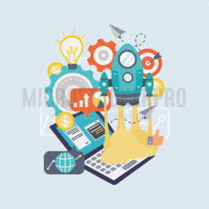 Modern technology and rocket symbol for startup - Vector illustrations for everyone | Microstocker.Pro