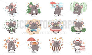 Monthly calendar template with cute mouse character - Vector illustrations for everyone | Microstocker.Pro