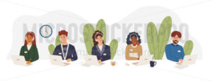 Multicultural tech support employees in call center vector illustration - Vector illustrations for everyone | Microstocker.Pro