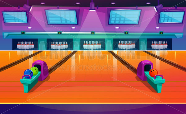 New modern bowling interior with pins and balls - Vector illustrations for everyone | Microstocker.Pro