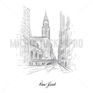New york city sketch drawing with pencil on paper - Vector illustrations for everyone | Microstocker.Pro