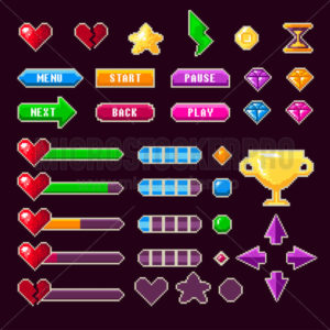 Old pixel video game ui ux for entertainment - Vector illustrations for everyone | Microstocker.Pro