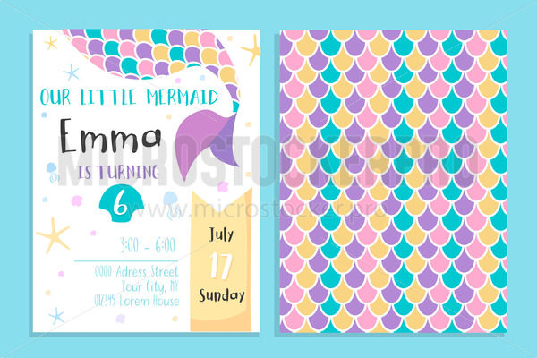 Our little mermaid birthday party invitation - Vector illustrations for everyone | Microstocker.Pro