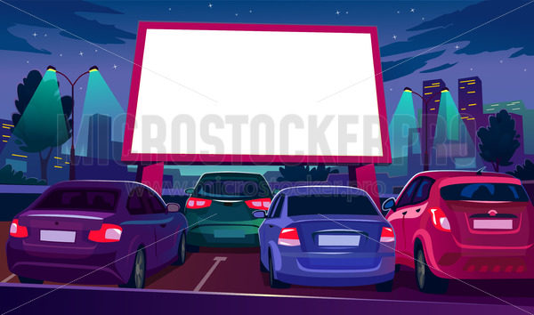 Outdoors car cinema with empty white screen - Vector illustrations for everyone | Microstocker.Pro