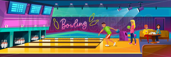 People playing bowling in luxury club on party - Vector illustrations for everyone   Microstocker.Pro