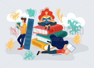 People reading and enjoying interesting books - Vector illustrations for everyone | Microstocker.Pro