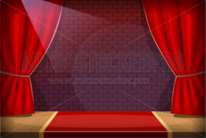 Performance stage in a bar or a club with red curtains and spotlight - Vector illustrations for everyone | Microstocker.Pro