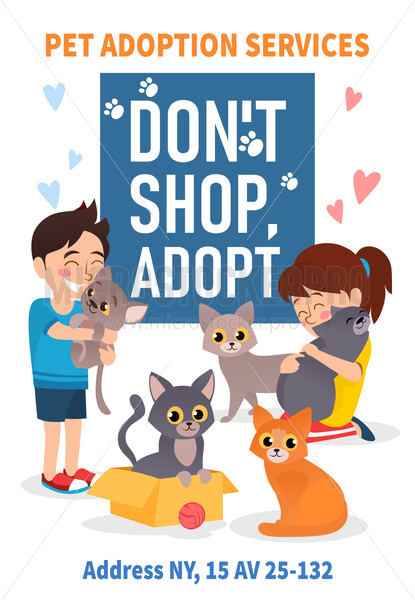 Pet adoption poster with colourful animals - Vector illustrations for everyone | Microstocker.Pro